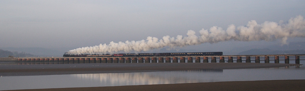 8P 71000 Duke of Gloucester leaving Arnside, crossing East Kent Viaduct – Cumbrian Coast Express 9/2/08